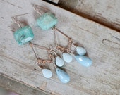 ONE OF A KIND Semi-Precious Natural Turquoise Aventurine & Teardrop Blue Milky Quartz Sterling SIlver Chandelier Earrings - Handcrafted
