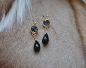 Semi-Precious Midnight Jasper Druzy & Black Onyx Quartz Gold Dangle Chandelier Earrings - Handcrafted