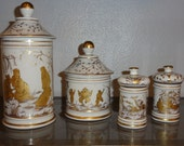 Chinoiserie Set of Vintage Jars Made in France