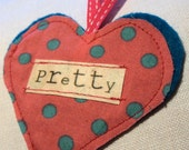 Valentine Pretty Heart Personalised Decoration in Spotty Pink Cotton