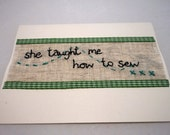 Card Personalised Greetings Mothers Day Sister Friend How to Sew Green Embroidery