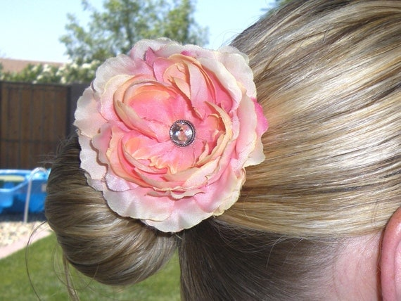pink/peach hair bow fower clip--flower girl bridesmaid baby toddler big girls and moms