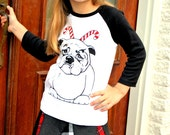 Christmas Candy Cane Bulldog Girls Boys Tee Shirt Size 2 4 6 8 left...will ship immediately