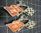 2 Chevy Impala Flag Emblems Original 1960's Hot Rod Rat Rod Jewelry American Muscle Car Custom