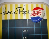 "Vintage Rare 1950's Pepsi Cola Soda Sign Chalkboard Metal Menu Display Soda Embossed Collectable  Advertising ""Reserved For Lulu"""
