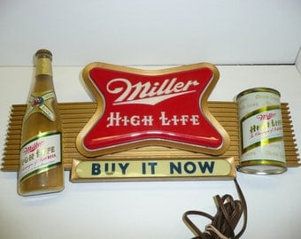 Miller High Life Beer Bar Lighted Sign Bottle Original Steel Flat Top Can Rare Breweriana Advertising Collectable