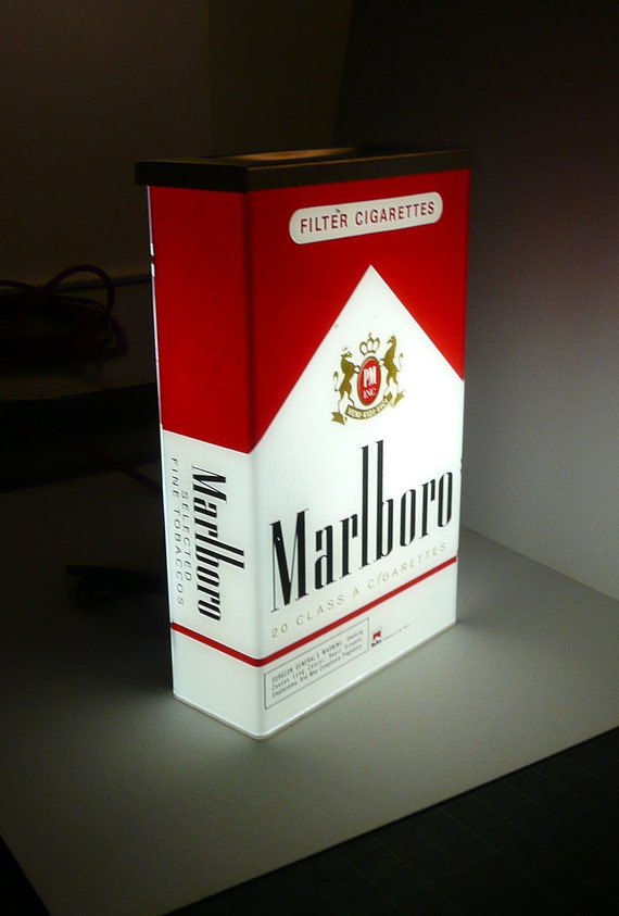reserved for saud marlboro cigarettes pack lighted sign