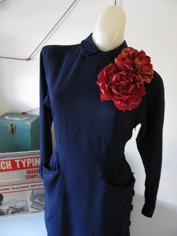 vintage 50's navy blue heavy rayon dress