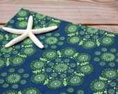 Organic Cotton Fabric, By the Yard, Sateen, Teal, Lime Green, Wide Width, Multiple Yards Available, Fabric and Craft Supplies by humblegoods