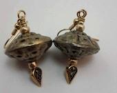 Metal Bead Earrings, Tribal Earrings, Metal Dangle Earrings