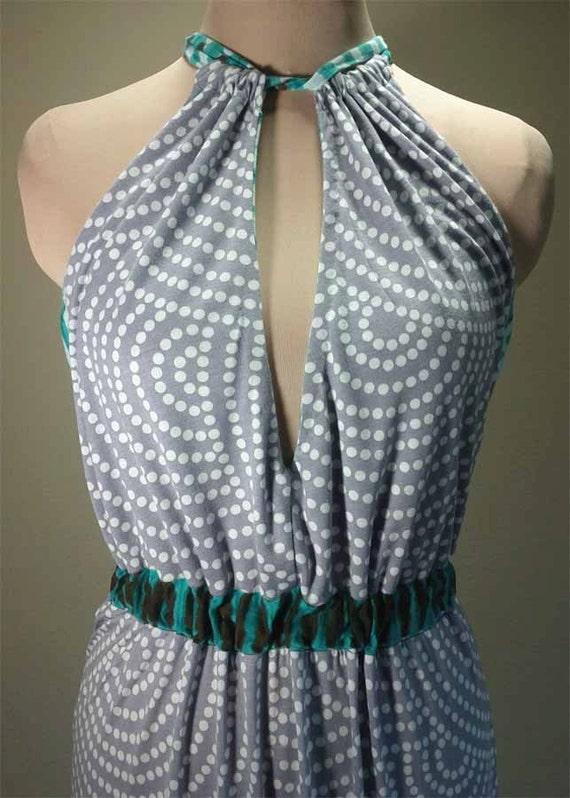 Printed Maxi Dress, Halter Dress. OOAK Maxi Dress, Tribal Chic Maxi