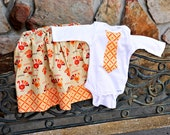 Brother/Sister Matching - Thanksgiving Outfit - Tie Onesie and Twirl Skirt- 6m-6years