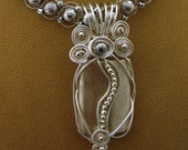 Chunky Silver Plated Pendant with Wire Wrapped Pewter Beads (necklace sold sep) Original with Free Shipping