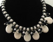 Statement Necklace Crocheted and Wire Wrapped with Black and White Stone Beads - Original with Free Shipping