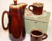 SALE WAS 18.00 - Vintage Hull Brown Drip Coffee Pot and 2 Mugs from The Eclectic Interior