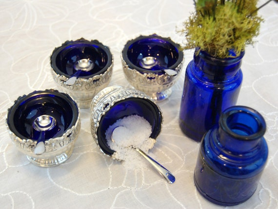Vintage Raimond Cobalt Blue Salt Cellars and 2 Cobalt Blue Bottles