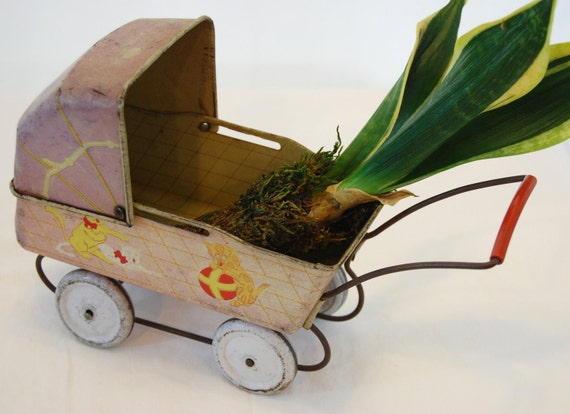 RESERVED FOR ESZTER - Vintage Tin Litho Doll Carriage, Vintage Tin Toy Doll Buggy, Shabby Tin Doll Buggy from The Eclectic Interior