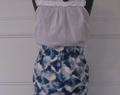 Blue and White Watercolor-Print Skirt with Elastic Waist