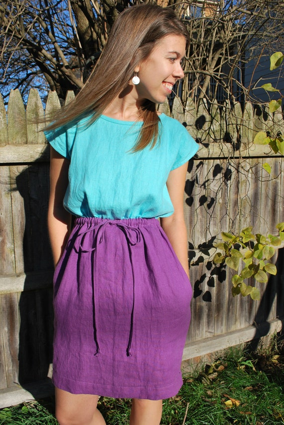 SALE: Color-Block Linen Dress in Aqua and Purple with Drawstring Waist