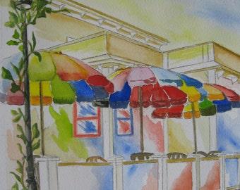 Print of Bright Umbrellas Street Cafe ORIGINAL WATERCOLOR PAINTING