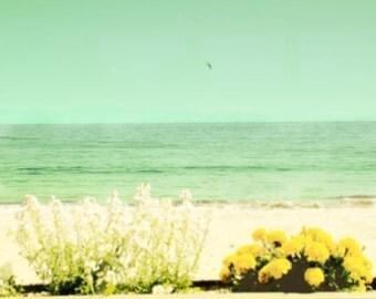 Beach Photography, Retro Beach Wall Art, Vintage California Ocean Photography, Large Abstract Ocean Pastel