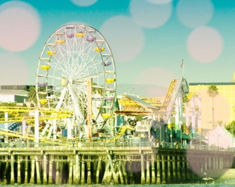 Ferris Wheel Photogtaphy, Santa Monica Pier, Beach Decor, Pastel Print, California Art, Bokeh, Nursery Art Pink Yellow Ferris Wheel