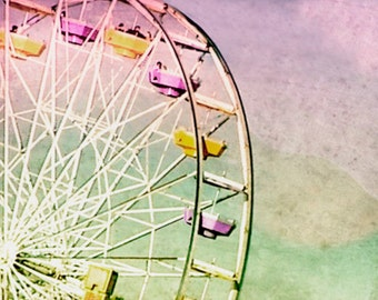 Ferris Wheel Photography, Santa Monica Pier, Ferris Wheel Pastel Art Large, Nursery Decor