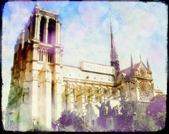 Notre Dame Photo, Notre Dame Photography, Paris Pastel, Pink Paris, Notre Dame Wall Art, Large Paris Art