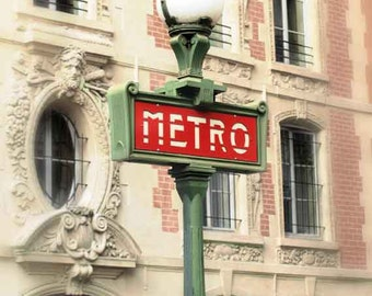 Paris Photography, Paris MetroPhotography, Paris Metro Sign Photo, Large Paris Wall Decor