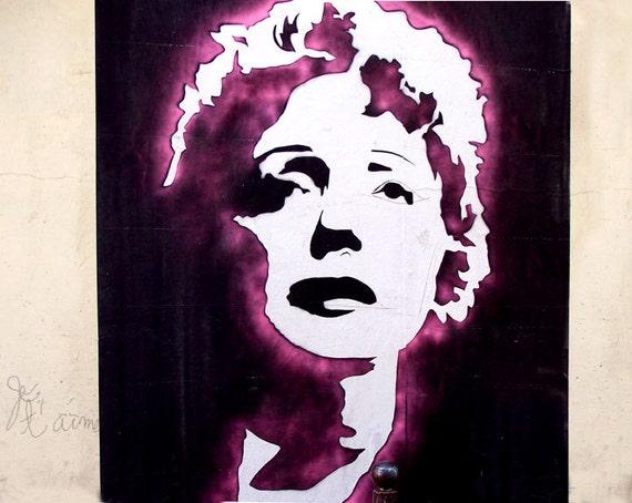 Edith Piaf, Grafitti art, Paris Street Art, Edith Piaf Stencil Photography, Paris Photography, Banksy