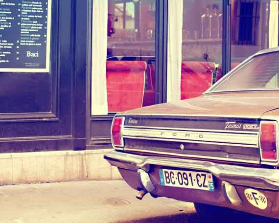 Paris Photography, Vintage Car Ford, Classic Car, Vintage Paris. Paris Cafe Photo, Paris Street Art Print, Sepia, Vintage American Car