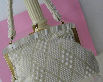 Vintage White Beaded Mesh and Mother of Pearl Lucite Frame Handbag 1950's - 1960's