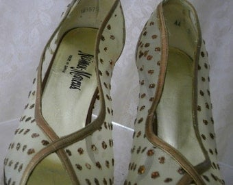 Vintage 1970s Neiman Marcus Sz 9 US Gold Leather and Gold Glitter Peep Toe Pumps Heels