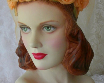 Vintage 1960s Glamorous Orange Sherbet Floral Bouquet Veil Hat