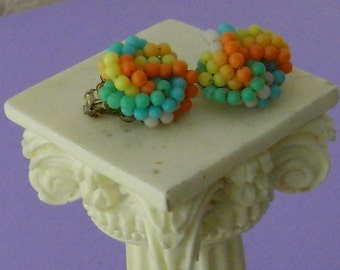 Vintage 1960s Awesome Rainbow Cluster Clip Earrings