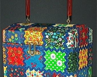 Vintage 1960's CALICO PATCHWORK Wooden Box Bag MINT