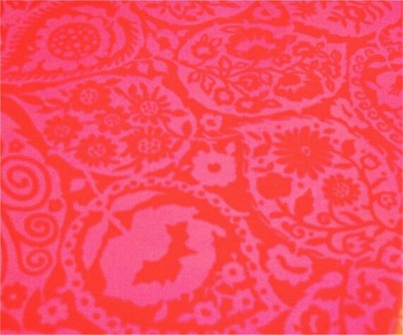 MARIMEKKO 1960s  laminated fabric, very HOT PINK and red combo