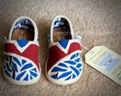SIZE T4 - Zebra Print Baby TOMS Shoes - Blue & Red