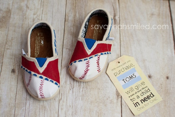 SIZE T4 - Baseball Zebra Print Baby TOMS Shoes - Blue & Red