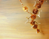 amber fall fashion jewelry Amber Asters in Autumn Garden - linen, glass beads, silk necklace - autumn garden necklace