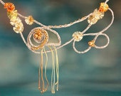"Summer beach necklace ""Yellow Sea Anemone"". Whimsical pendand with sea creature."