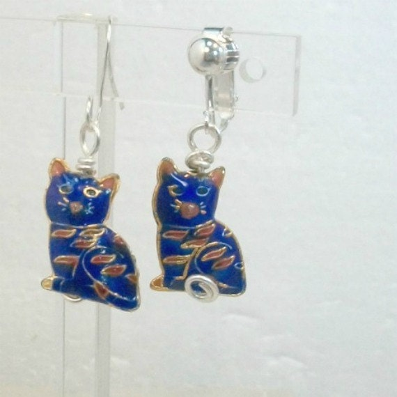 Handmade earrings mixed metal blue kitty cats choice pierced or clip on