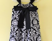 Back Tie Pillowcase Dress in Damask with Custom Satin Fabric Ties Sizes 3 months to 2T...Over 100 different Fabric Options