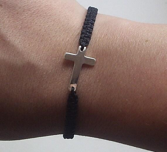 Sideways Cross - Sterling Silver Sideways Cross Waxed Cord Bracelet