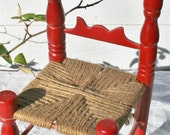 Miniature Red Doll Chair with Woven seat