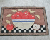 Hooked Rug Apples in Yellow ware bowl CUTE