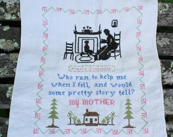 """Sweet Vintage """"Mother"""" Sampler Verse Cross stitch"""