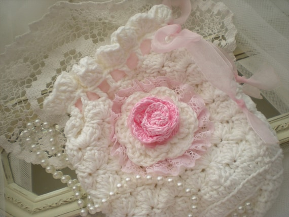 Shabby Chic Vintage Inspired Hand Crocheted Gift Bag OOAK  Free Shipping