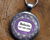 Pet iD Tag lavender and purple patterned colorful round Dog Tag 35mm round -  by California Mutts
