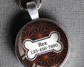 Red and black patterned Pet iD Tag colorful round Dog Tag 35mm round -  by California Mutts